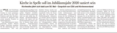 Bericht Lingener Tageszeitung Treffen Ortsvorstand CDu mit Kirchenvorstandd